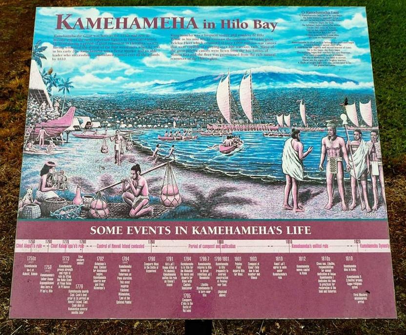 Kamehameha in Hilo Bay Timeline Sign