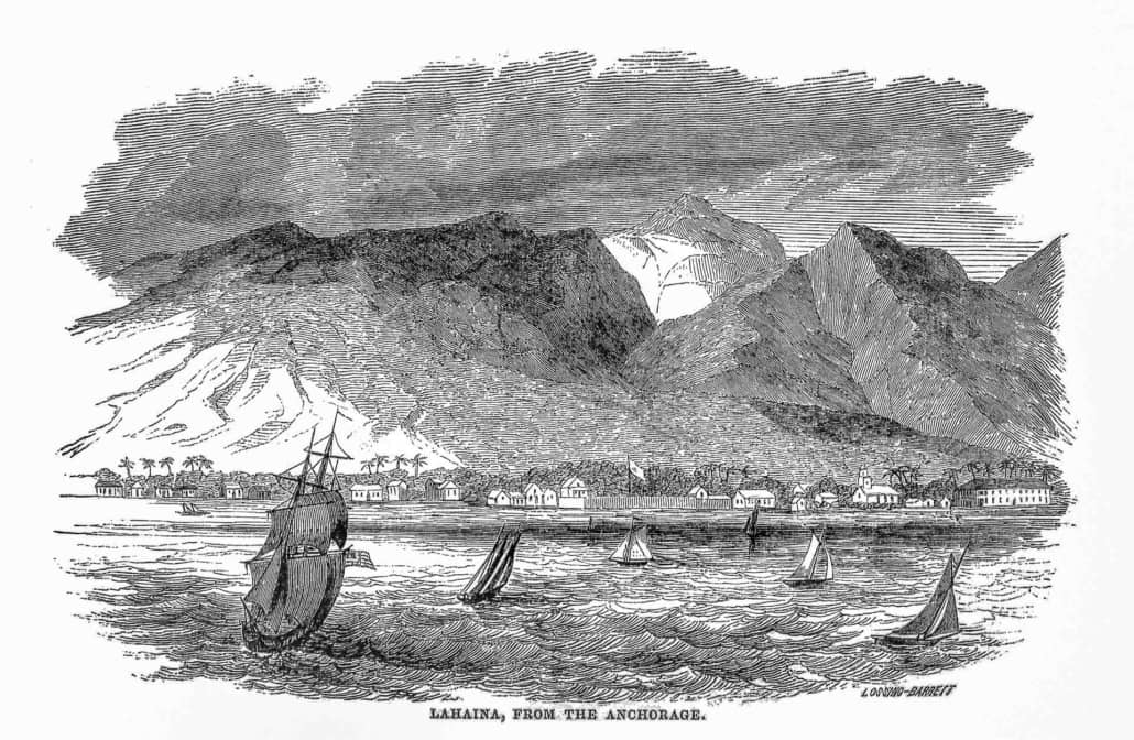 Lahaina from the Anchorage by Lossing Barritt