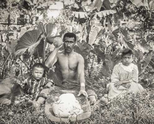 Native Hawaiian man pounding taro into poi with two children by his sides., c. sWikimediaimage