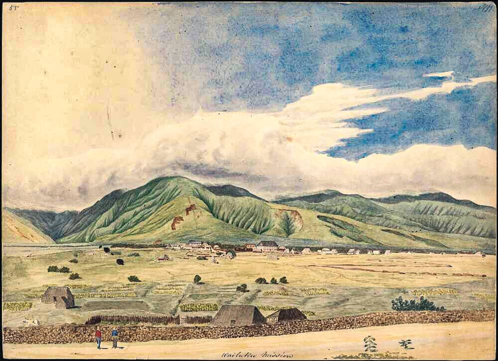 Wailuku Mission, East Maui, , watercolour by James Gay Sawkins