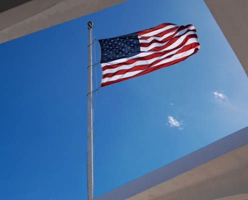 Flag Flying Above Arizona Memorial