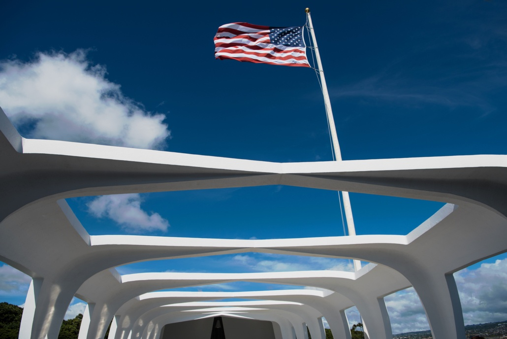 Arizona Memorial With Flag