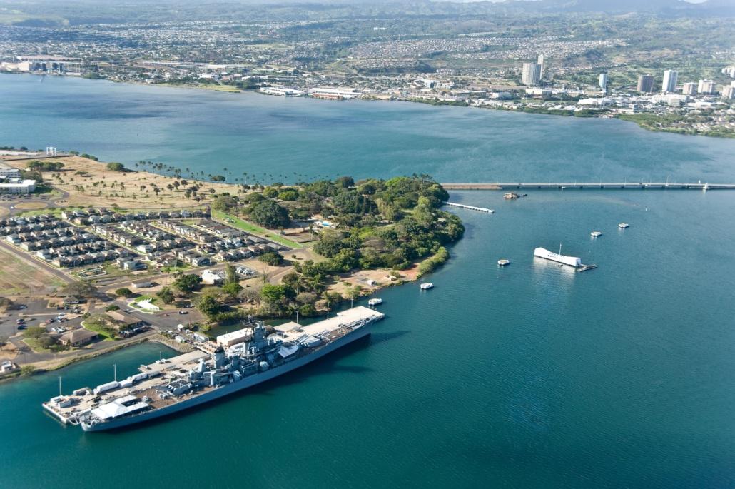 USS Missouri Arizona & Pearl Harbor From Above