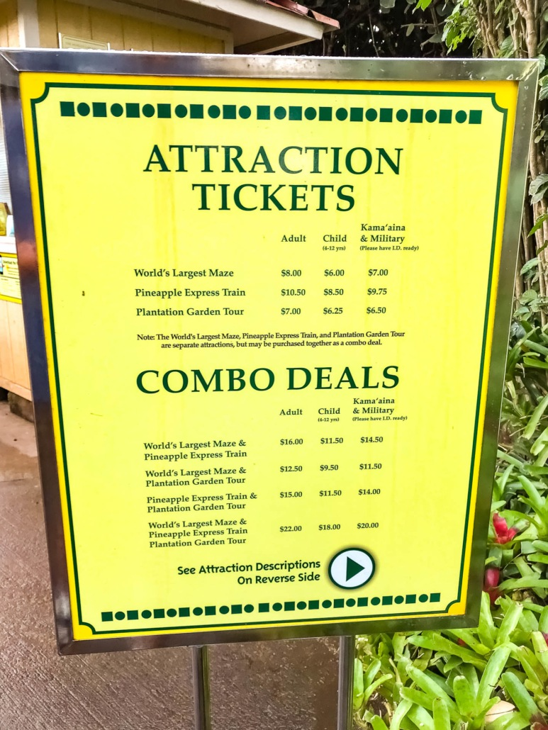 Dole Plantation Activity Prices Sign
