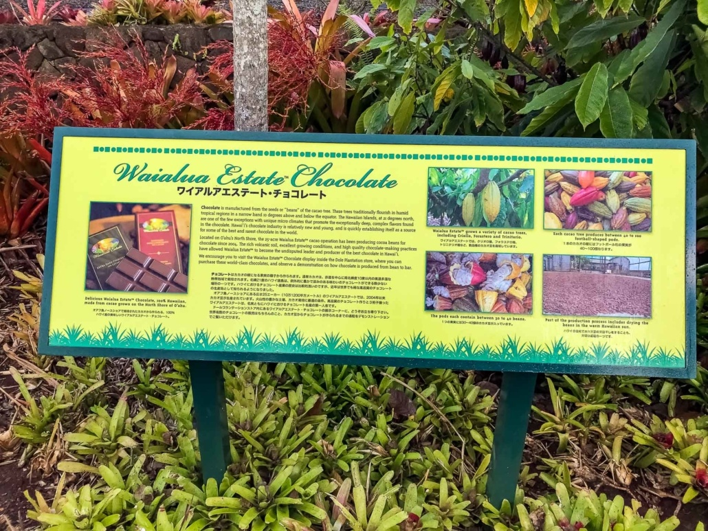 Dole Plantation Waialua Estate Chocolate Sign Outside
