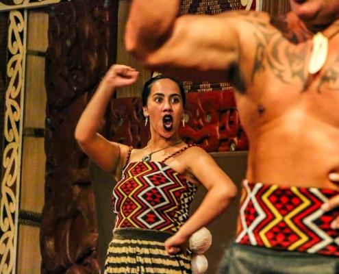 Moari Woman Haka Performer