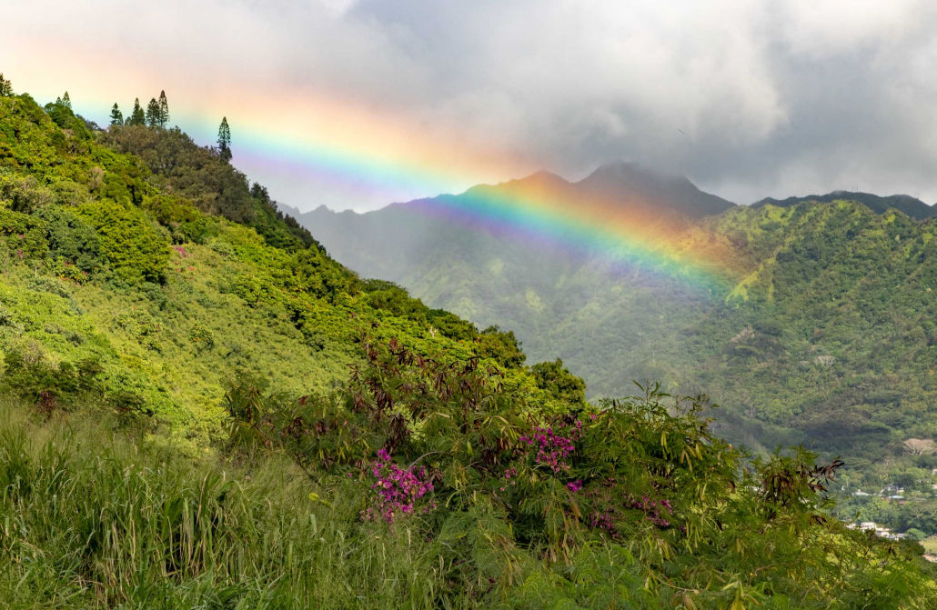 Tantilus Road Lookout Rainbow above Honolulu Oahu
