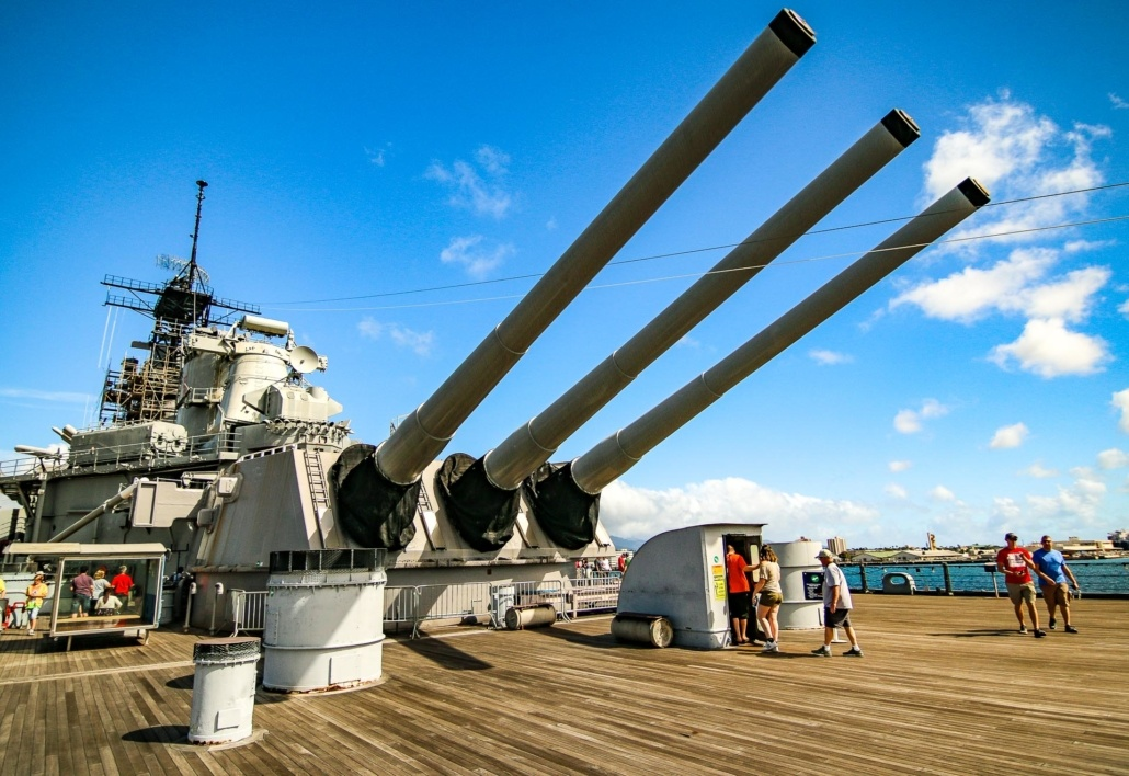 USS Missouri Aft Deck  Inch Gun Turret Ship Entrance