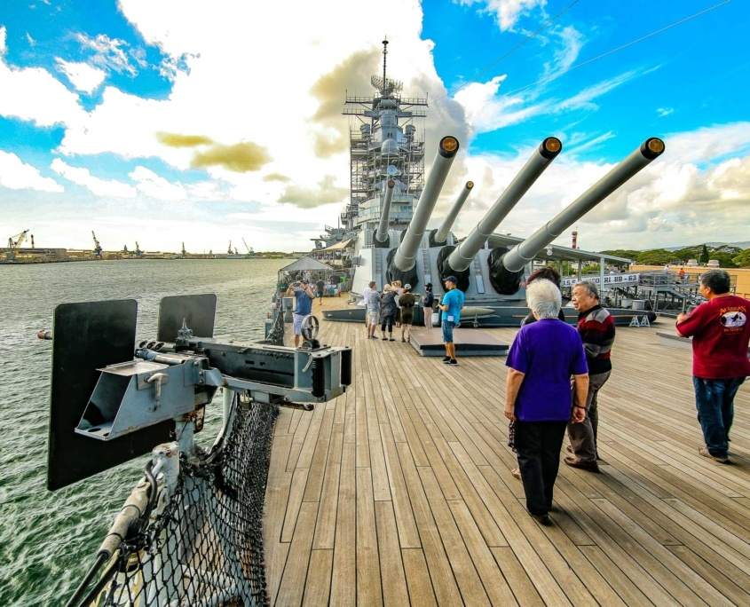 USS Missouri Deck Guns and Visitors