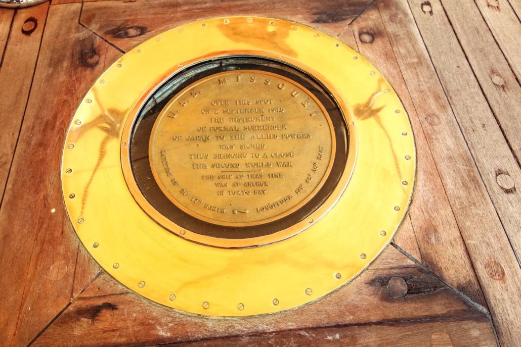 USS Missouri Floor Surrender Plaque Close Up