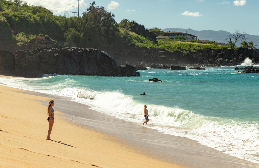 Waimea Beach Shore Break and Visitors North Shore Oahu