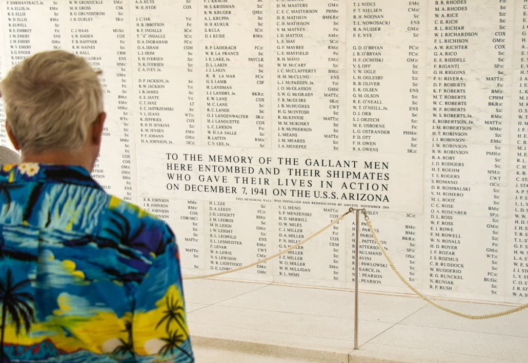 Arizona Memorial Marble Wall Visitor