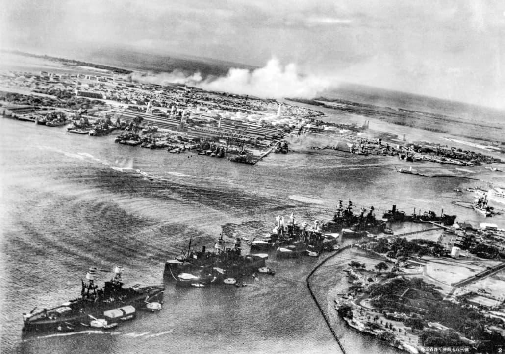 Battleship-row-torpedos at beginning of Pearl Harbor attack