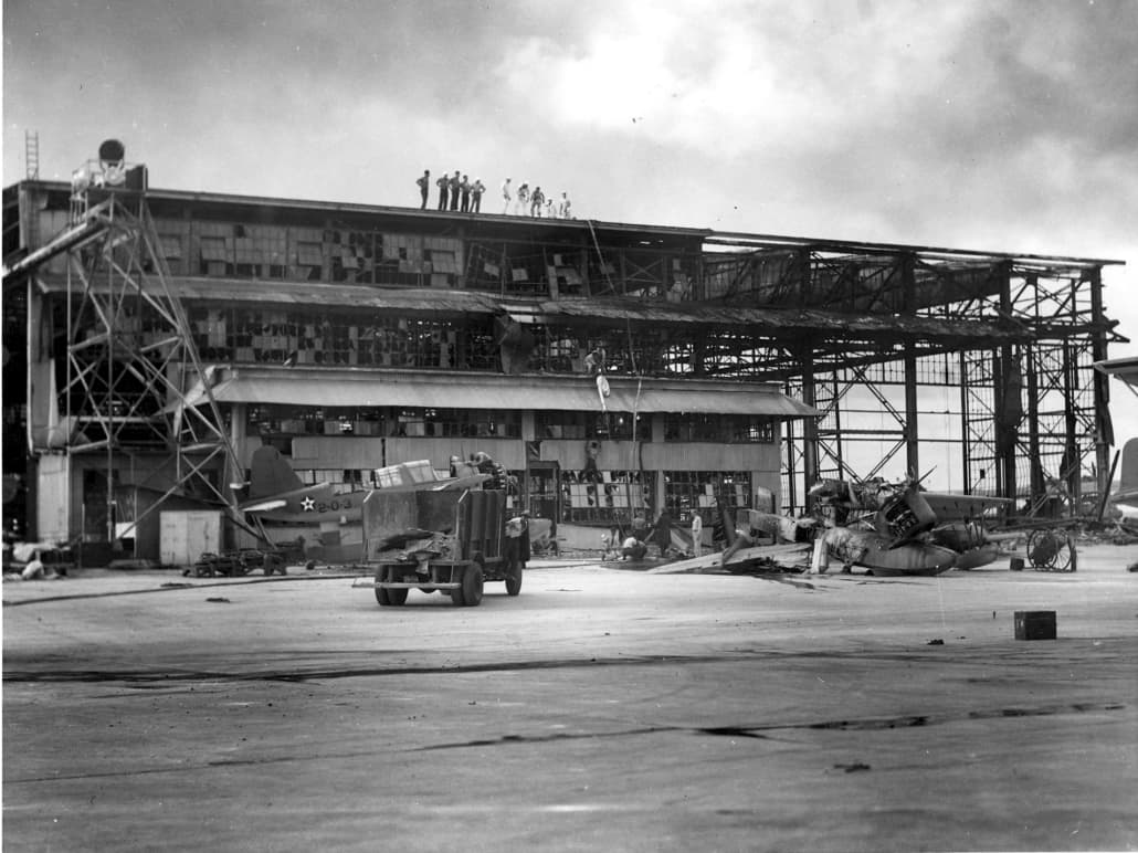 Damaged hangar on Ford Island in December