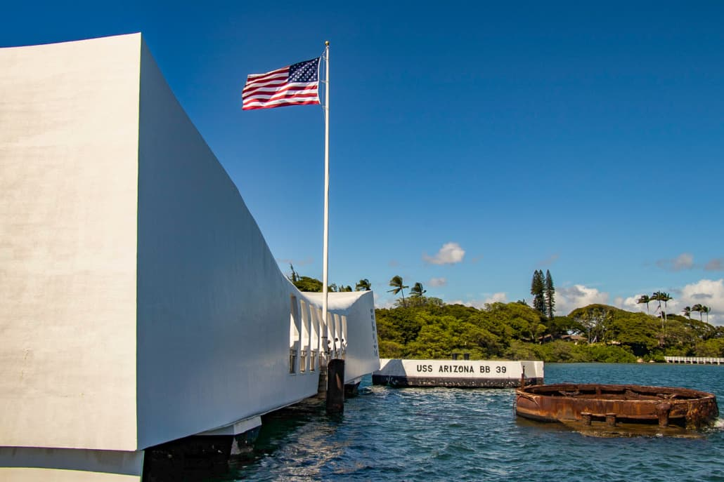 Pearl Harbor Arizona Memorial Exterior Flag and Wreckage