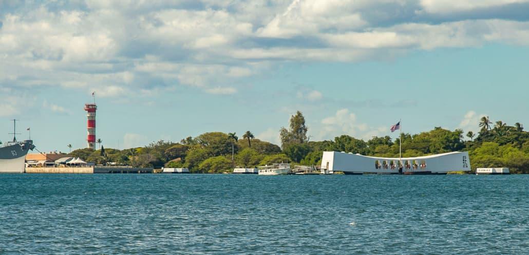 Pearl Harbor Arizona Memorial and tender Boat