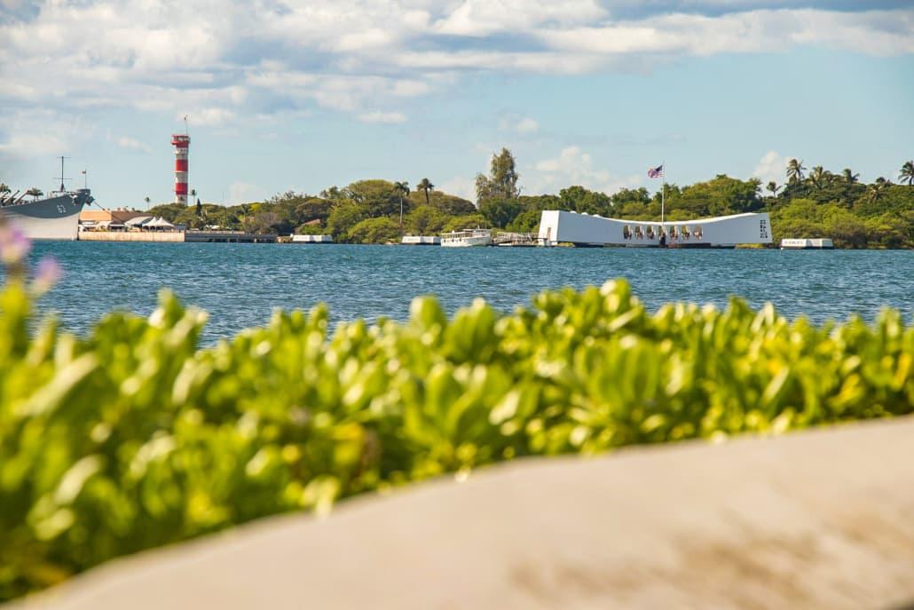 Pearl Harbor Arizona Memorial from shore
