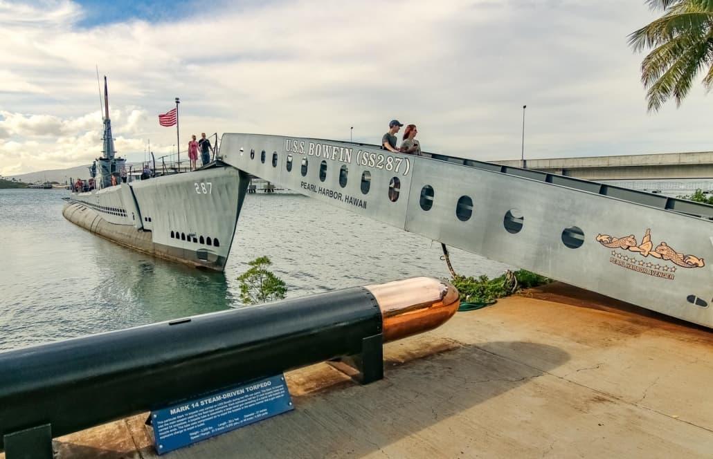 Torpedo and USS Bowfin Submarine at Pearl Harbor