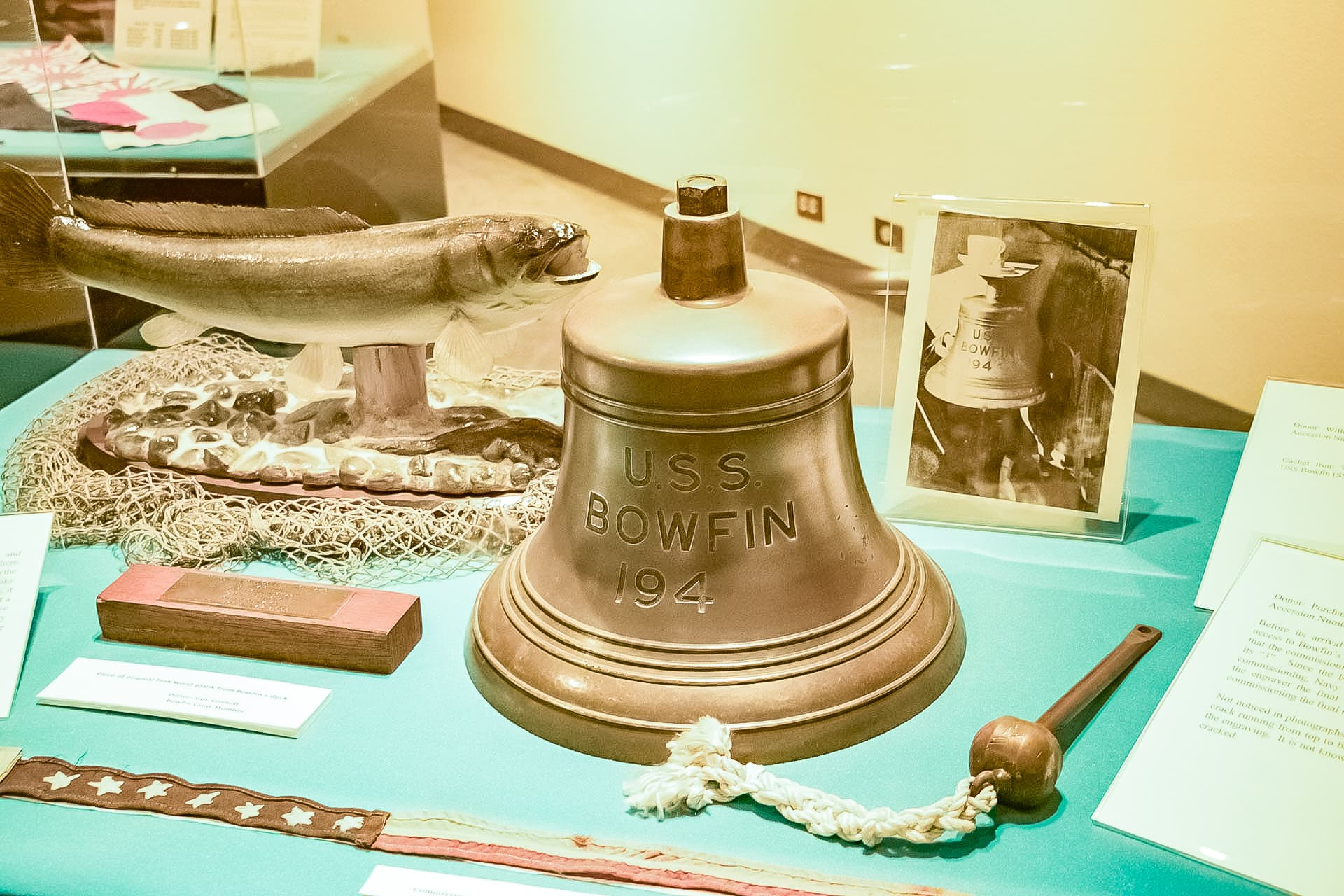 USS Bowfin Submarine Bell and Artifacts in Submarine Museum