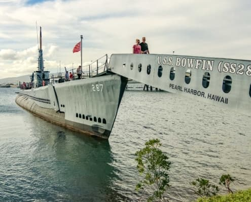 USS Bowfin Submarine Gangway and Visitors
