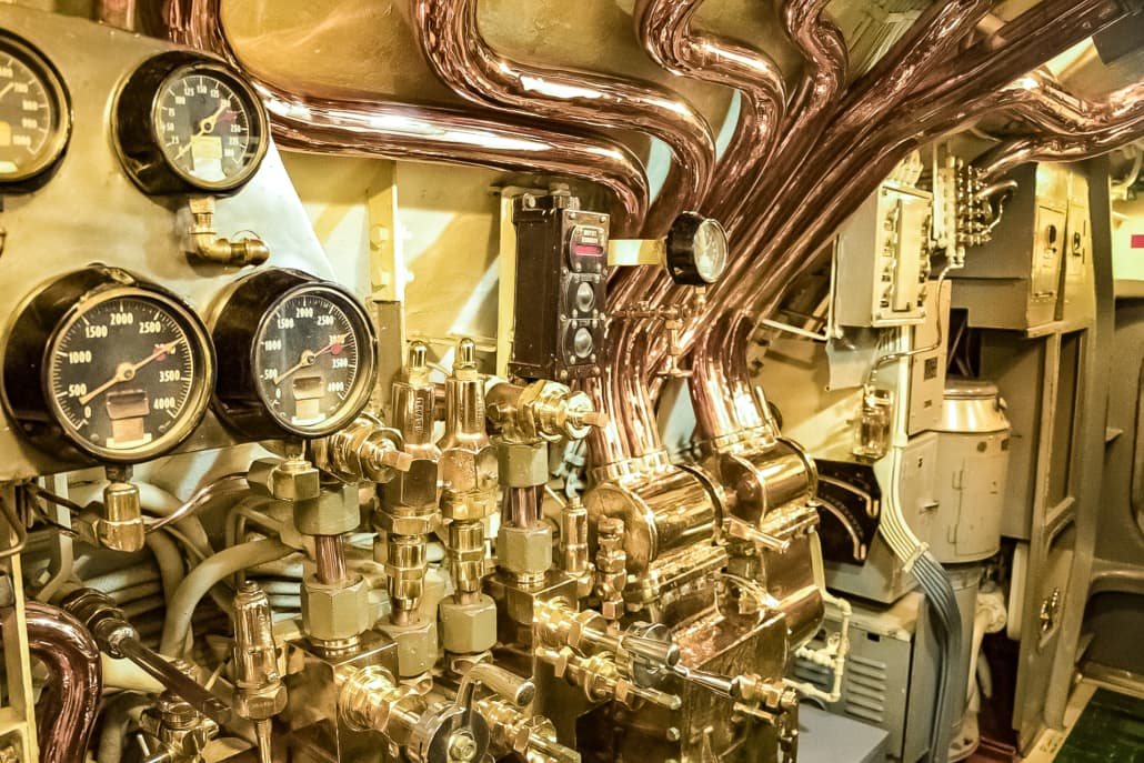 USS Bowfin Submarine Interior Gauges and Copper Piping