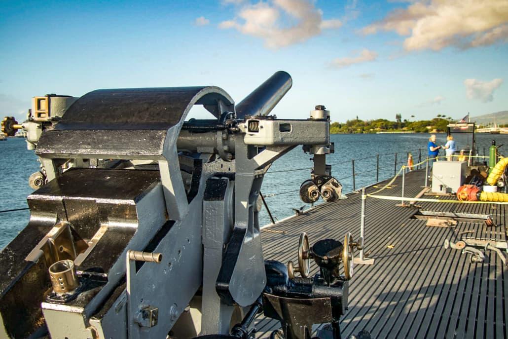 USS Bowfin Submarine five Inch Deck Gun Pearl Harbor