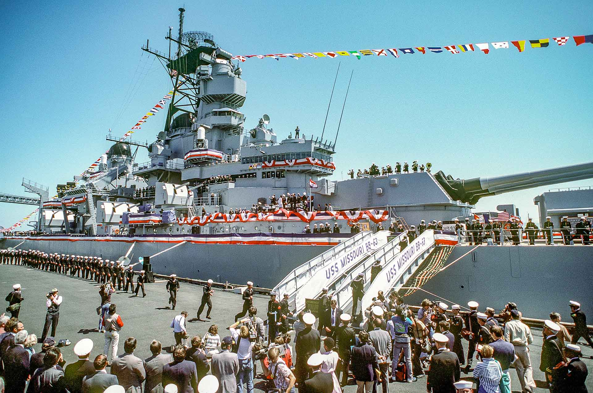 USS Missouri Recomissioned San Francisco  by Michael Flynn US Navy wikimedia