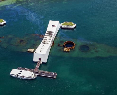 USS Arizona Memorial aerial view by James Pastoric USN