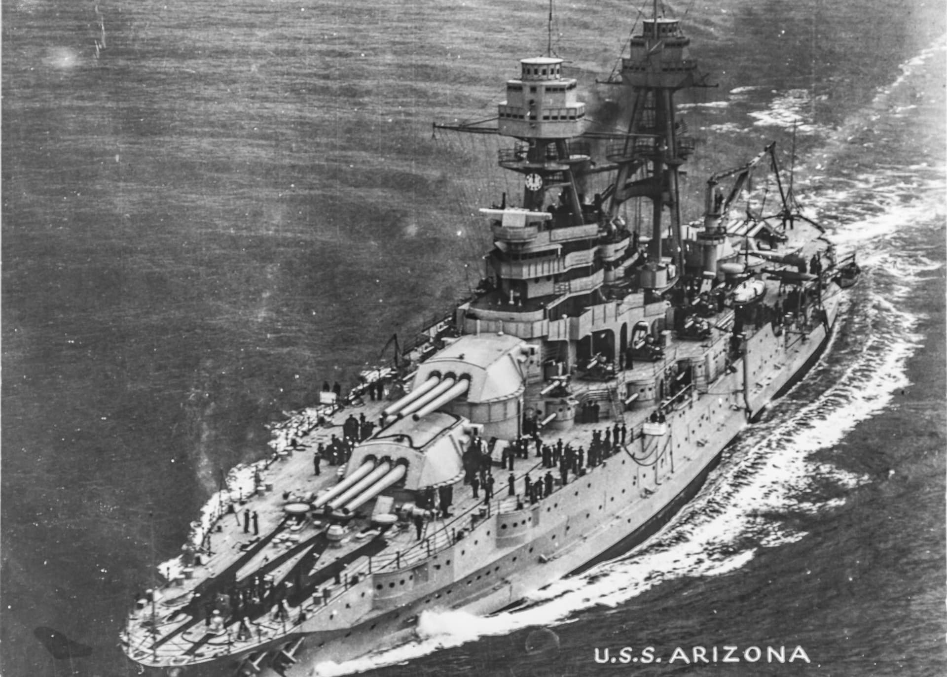 USS Arizona at Sea with President Hoover March