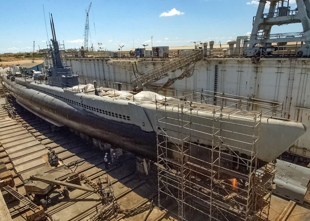 USS Bowfin in drydock undergoing restoration by US Navy Ryan C