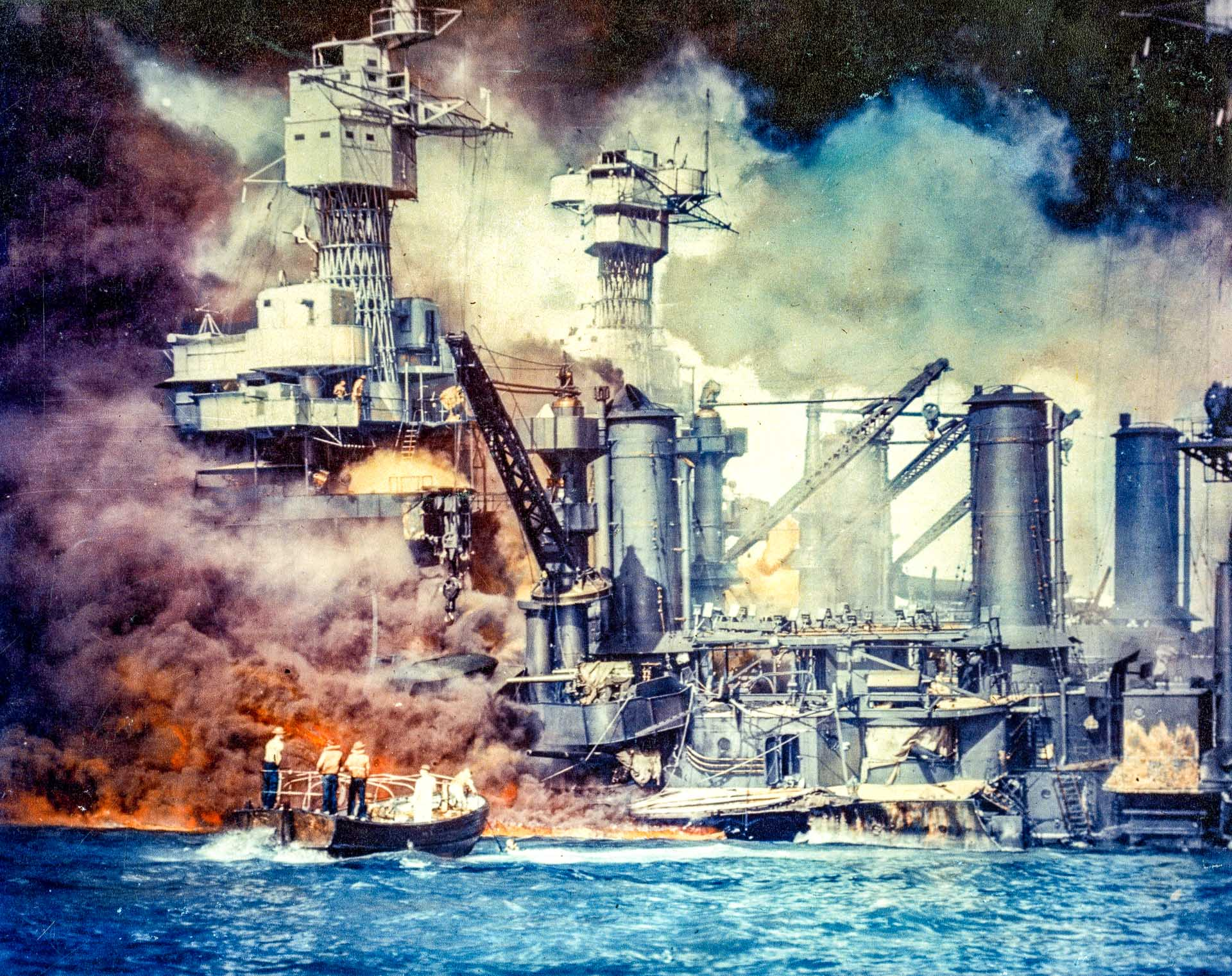 USS West Virginia;BurningwithrescueboatsPearlHarbor