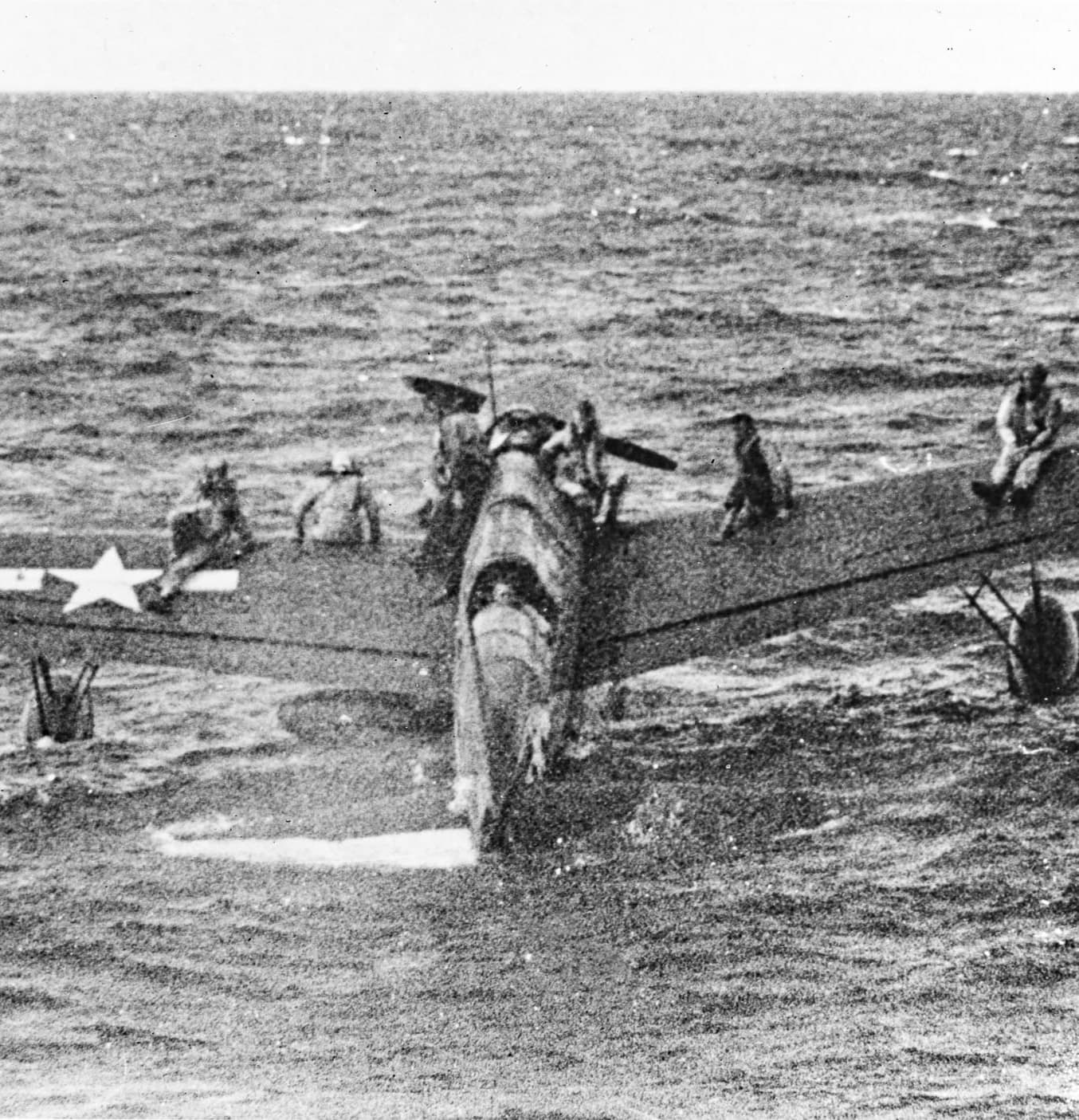 Vought OSU Kingfisher with rescued airmen off Truk on May us Navy