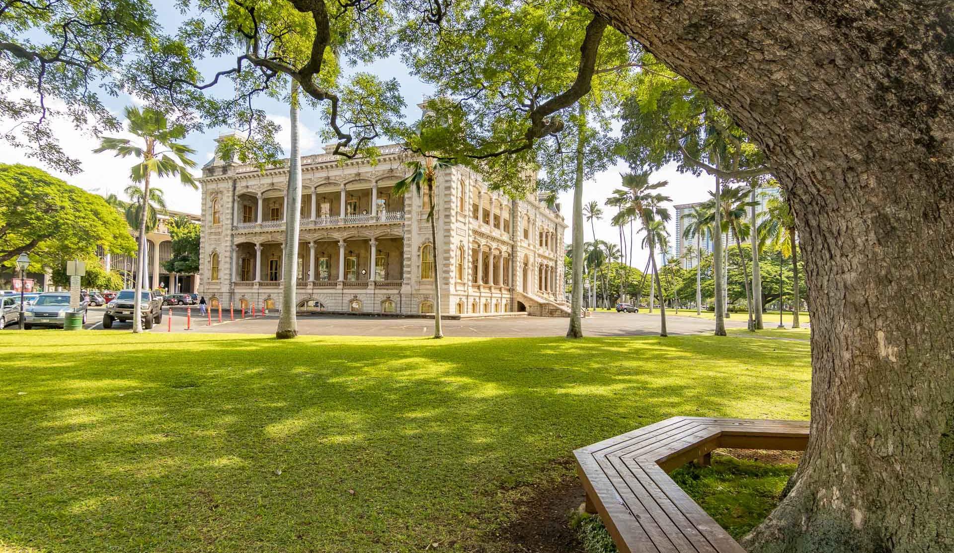 Iolani Palace Yard and Tree Bench