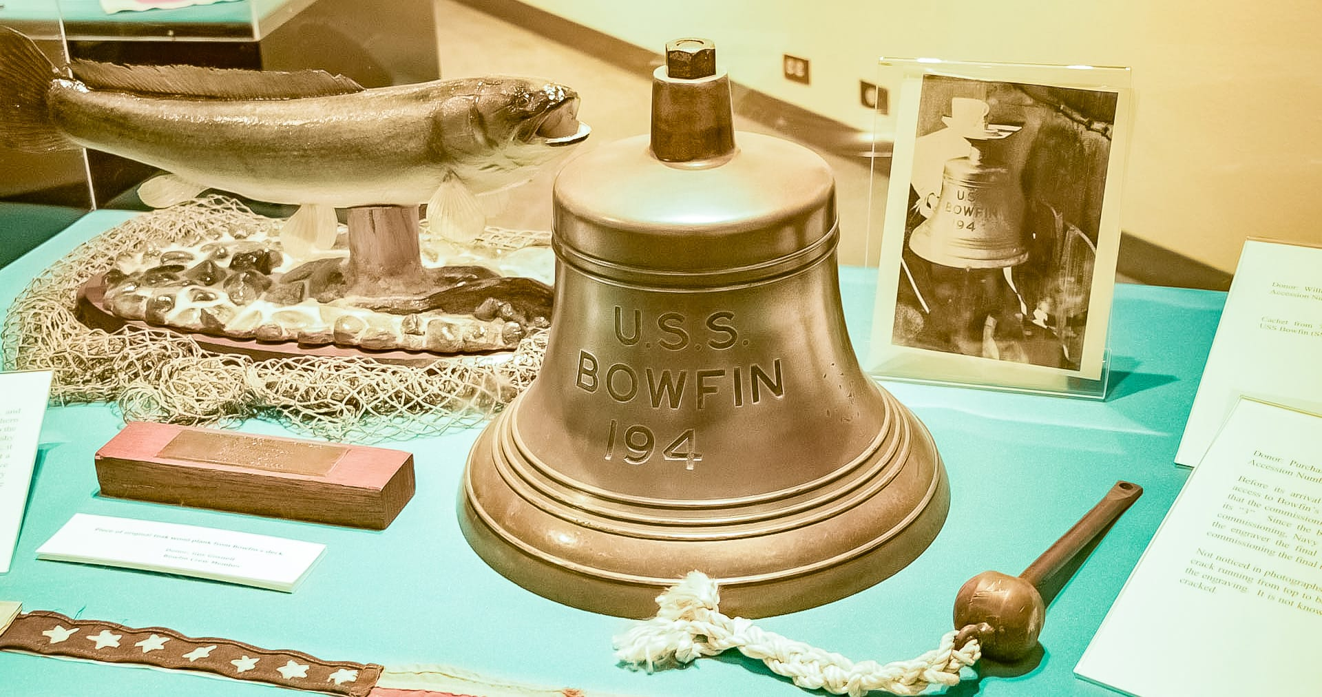 USS-Bowfin-Submarine-Bell-and-Artifacts-in-Submarine-Museum