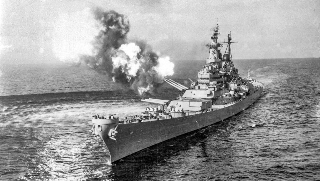 USS Missouri fires during Korean war US Navy