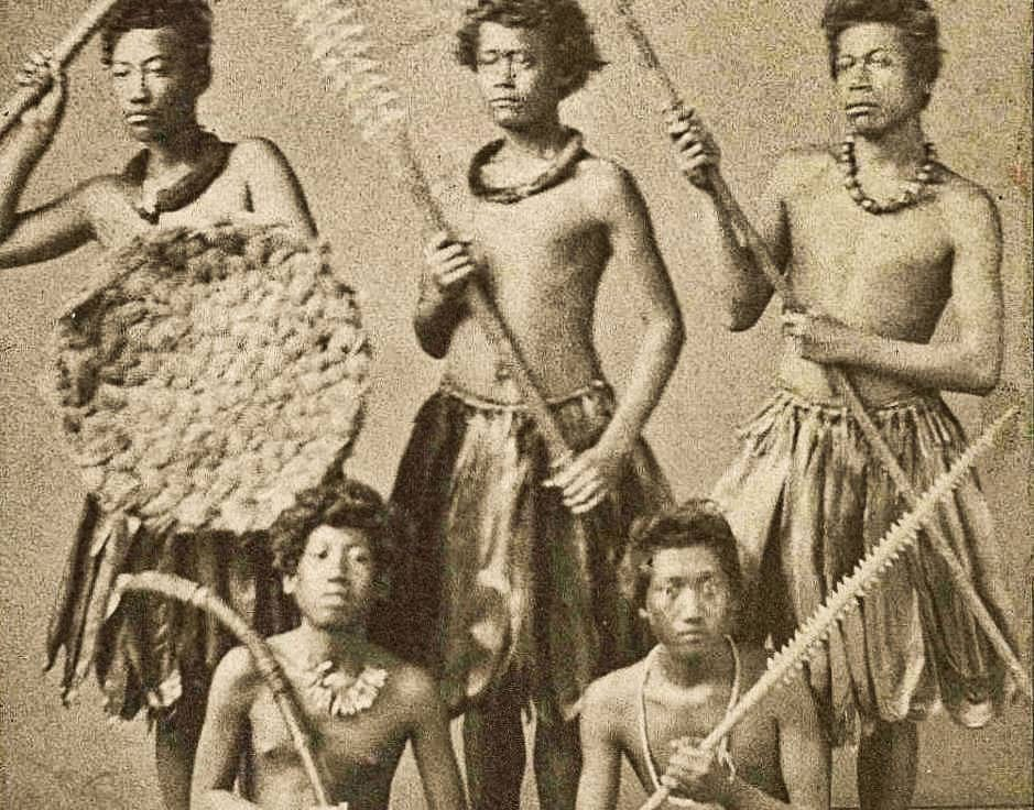 Group of Hawaiian Warriors Dressed in Native Costume
