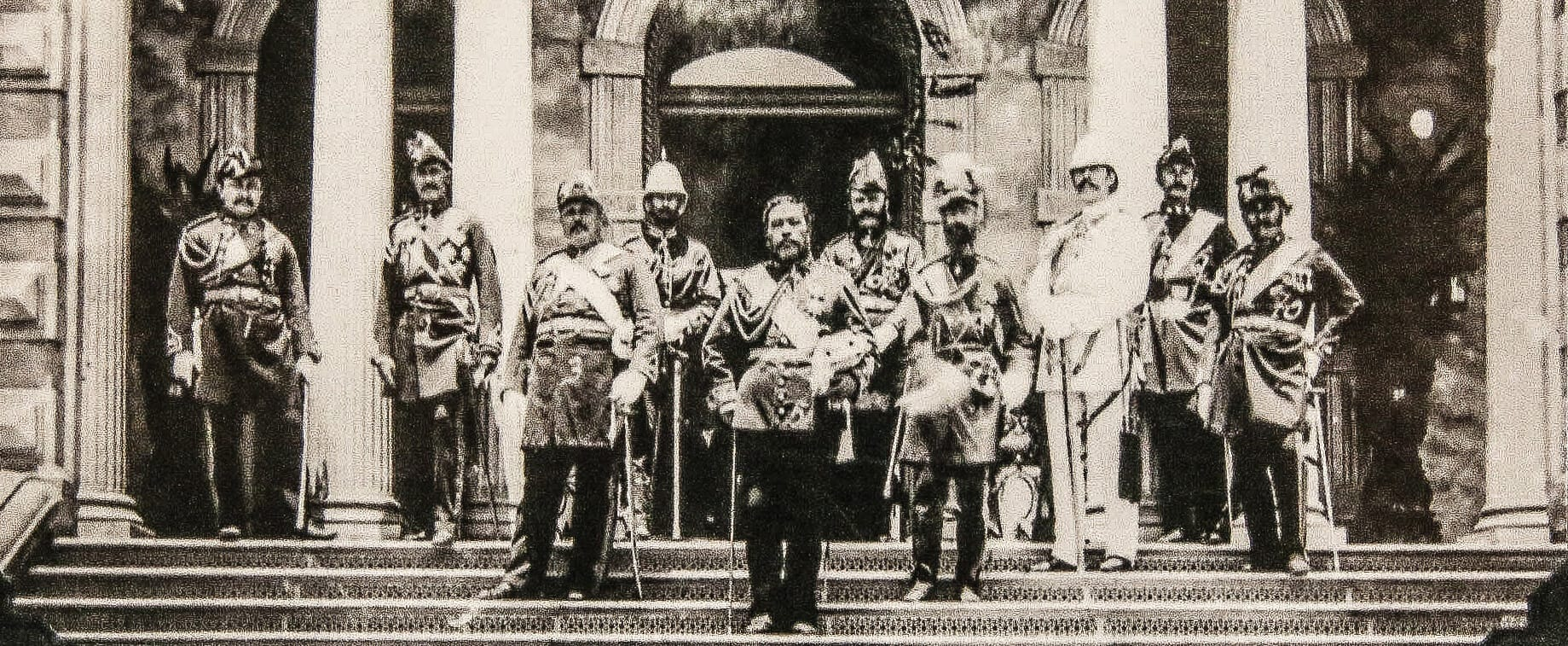 Kalakaua and Military Generals at Iolani Palace