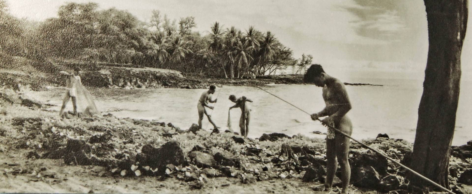 Native Hawaiians at Fish Ponds of Pu'uloa (Pearl Harbor) late 1880's