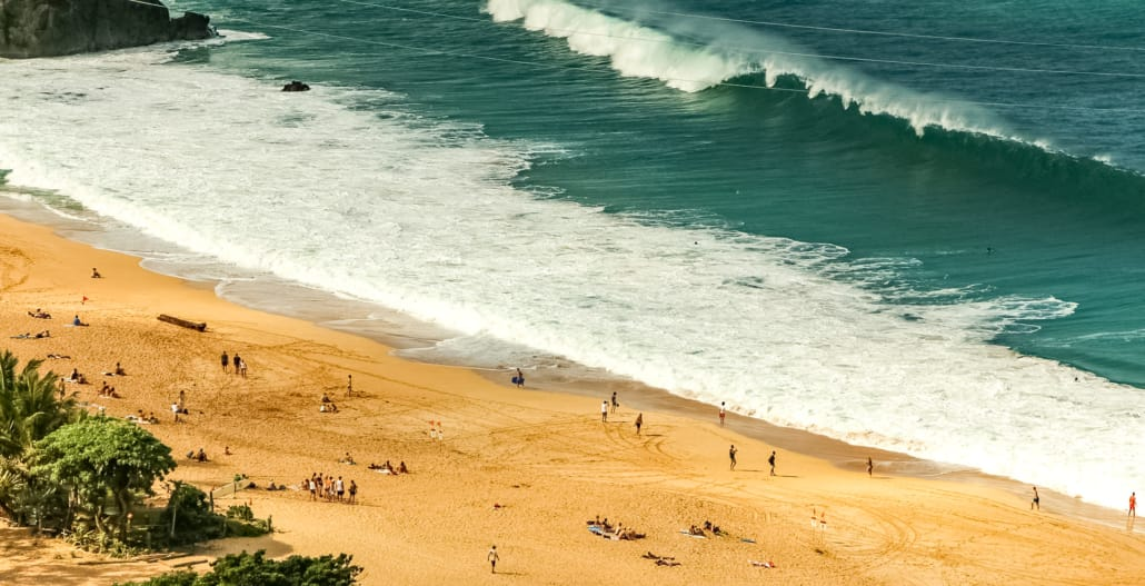 Waimea Bay Beach Overlook Waves and People