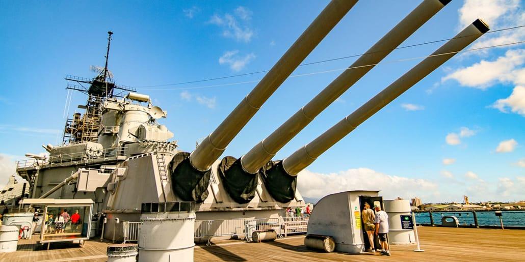 Pearl Harbor USS Missouri Battleship Guns Deck People