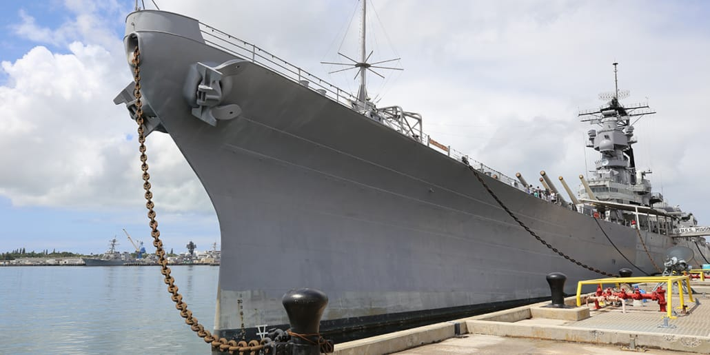 USS Missouri Bow at Pearl Harbor