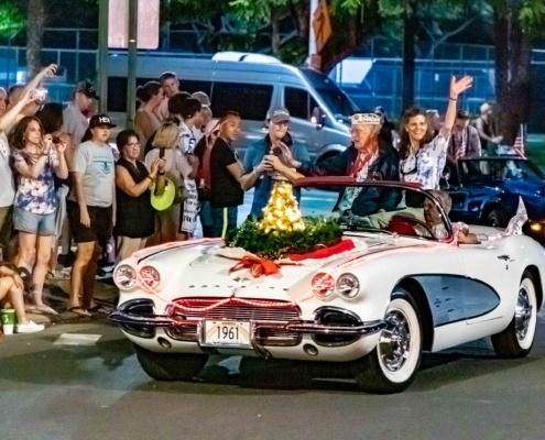 Pearl Harbor Day Parade Survivor in Vintage Corvette