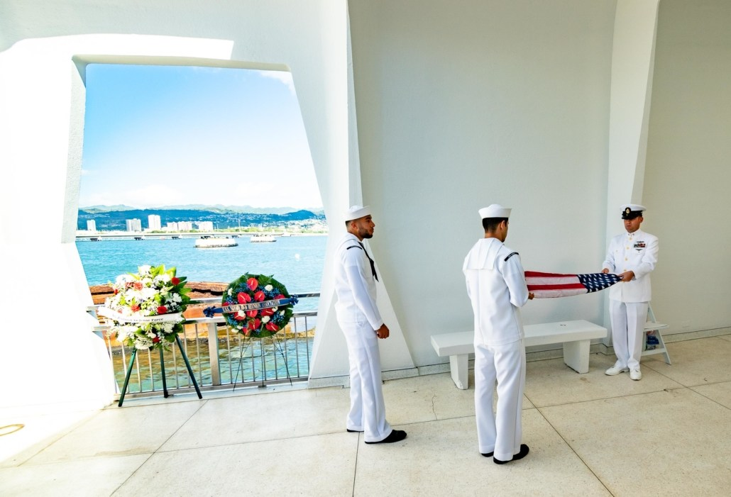 Pearl Harbor Day Arizona Memorial Navy Personnel Folding Flag