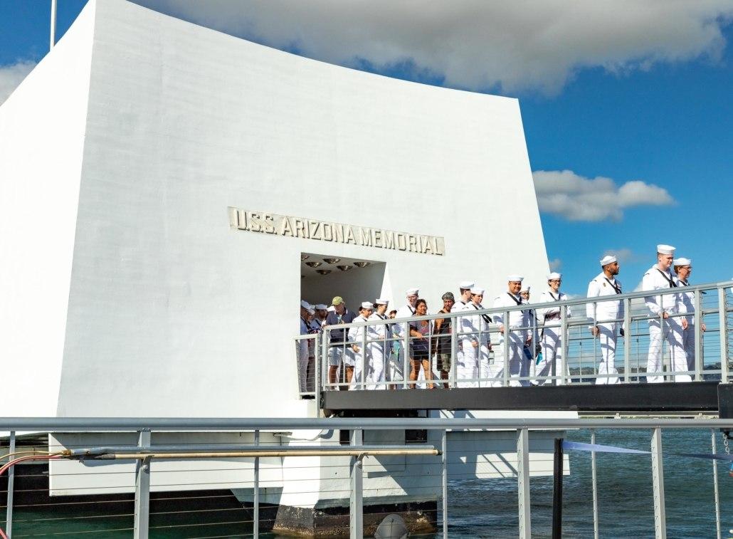 Pearl Harbor Day Arizona Memorial Navy Sailors on Dock