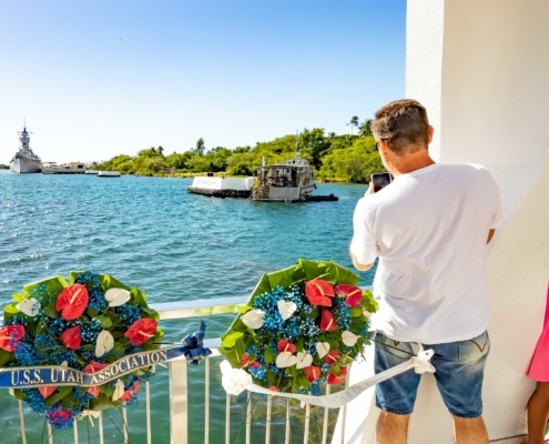 Pearl Harbor Day Arizona Memorial Visitor with Navy Divers for Internment and USS Missouri