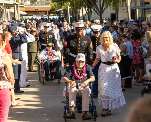 Pearl Harbor Day Survivors and Crowd at Visitor Center Oahu