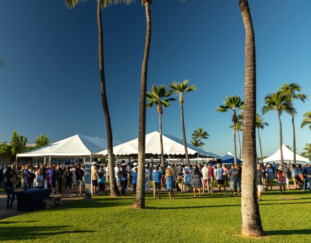 Pearl Harbor Day Visitor Center Tents and Crowd Oahu