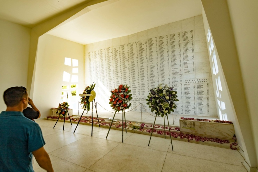 Pearl Harbor Day Wreaths at Wall of Remembrance