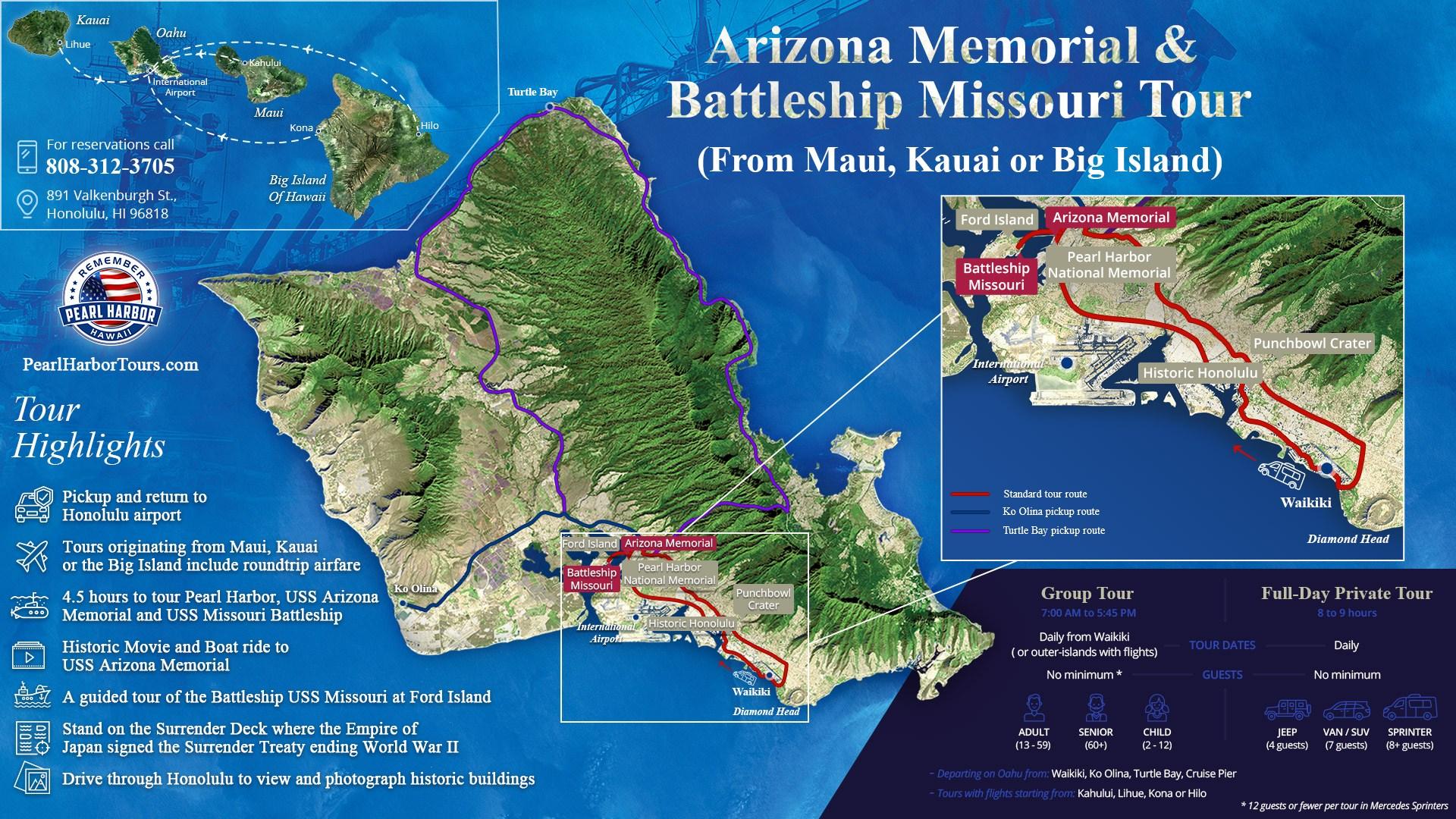 Arizona Memorial & Battleship Missouri Tour From Maui Kauai Or Big Island Map