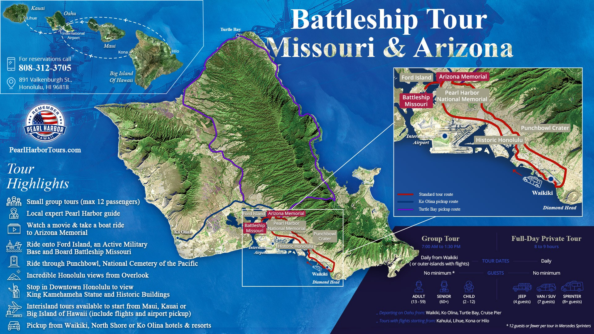 Arizona Memorial & USS Missouri Tour Map